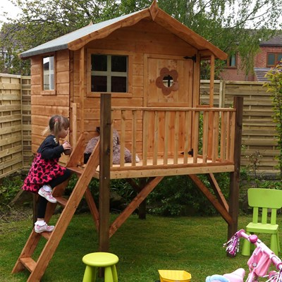 Mercia Kids Tulip Wooden Playhouse With Tower Outdoor Play Cu   Kids  Outdoor Wooden Playhouse