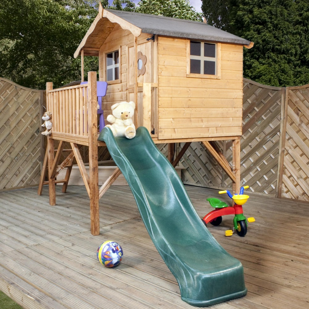 mercia kids tulip wooden playhouse with tower mercia. Black Bedroom Furniture Sets. Home Design Ideas