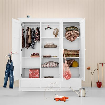 OLIVER FURNITURE SEASIDE CHILDREN'S LUXURY 3 DOOR WARDROBE in White