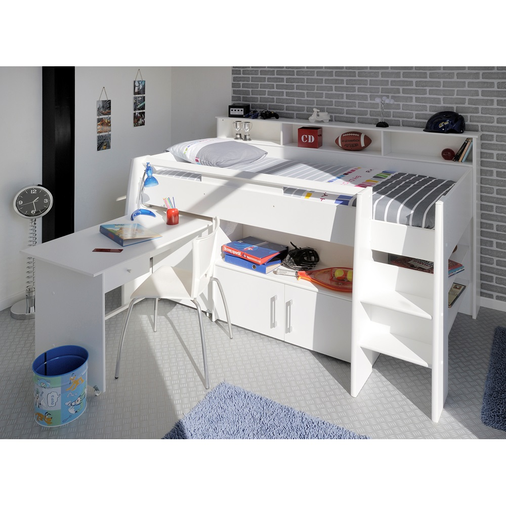Kids White Swan Midsleeper Single Bed With Desk