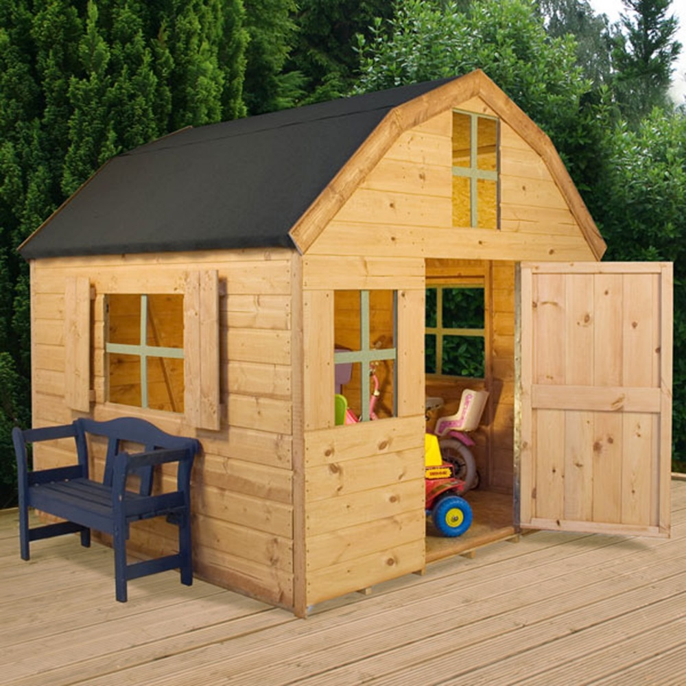 Kids dutch barn style wooden playhouse kids outdoor play for Wooden playhouse designs