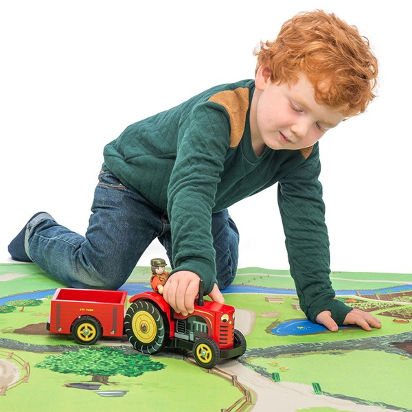 Le Toy Van Berties Tractor with Detachable Trailer