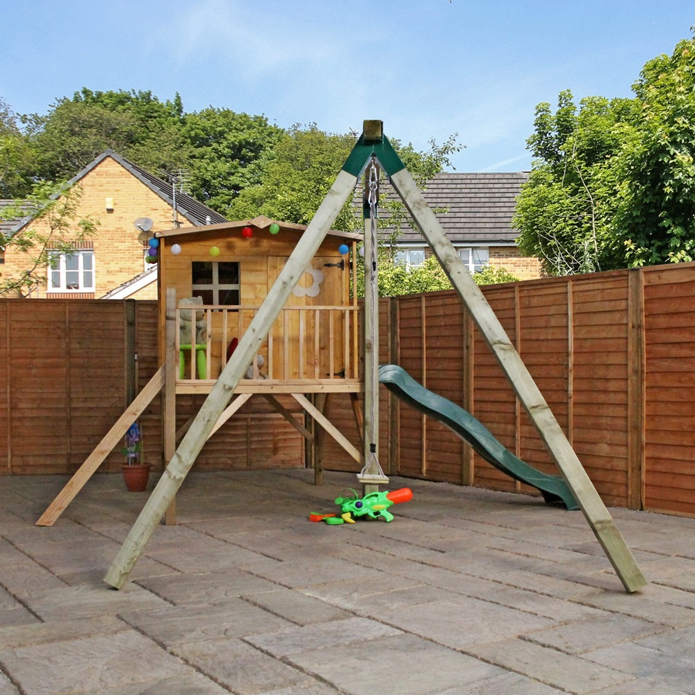 Mercia kids rose playhouse with tower slide activity for Childrens playhouse with slide and swing