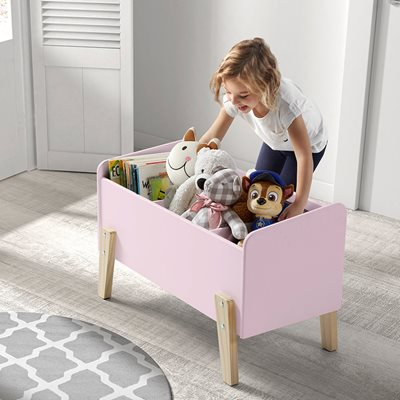 KIDDY WOODEN KIDS TOY BOX in Old Pink