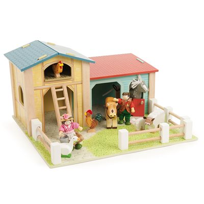 LE TOY VAN BARNYARD FARM SET with Cow Shed