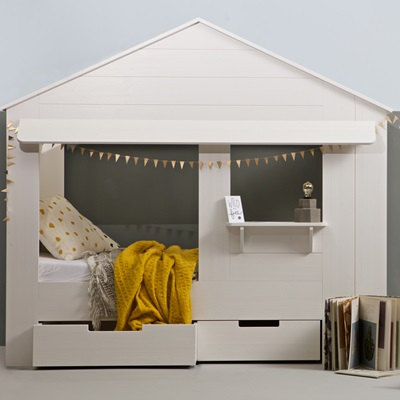Kids House Cabin Bed In White Pine With Storage Drawers