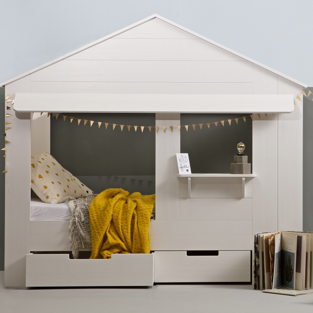 Kids house cabin bed in white pine with storage drawers for Frame house bed