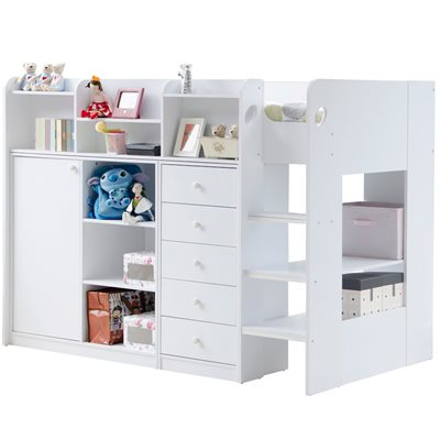 KIDS WIZARD HIGH SLEEPER STORAGE BED in White