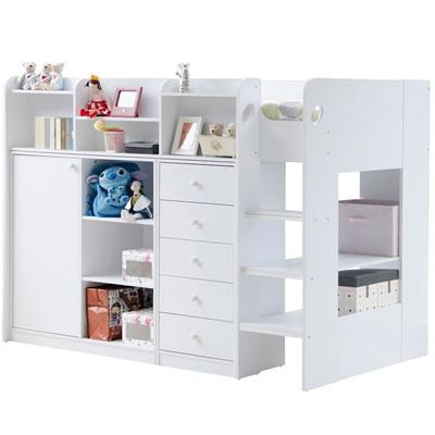 Kids Wizard High Sleeper Storage Bed In White Flair