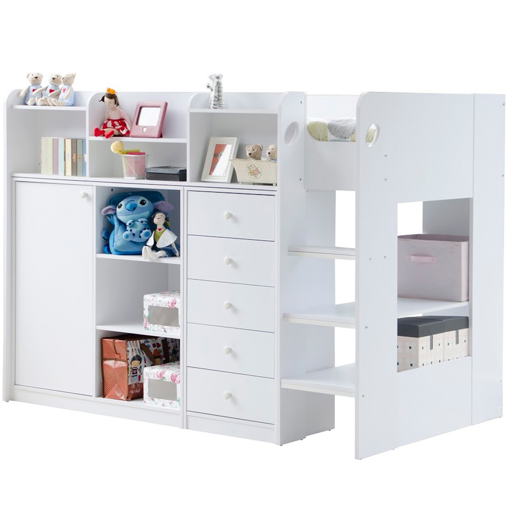 Kids Wizard High Sleeper Storage Bed In White Beds