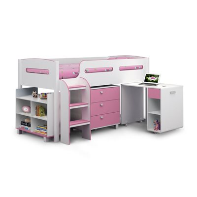 KIMBO KIDS CABIN BED WITH STORAGE in White & Pink Finish