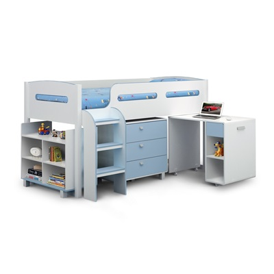 KIMBO KIDS CABIN BED WITH STORAGE in White & Blue Finish