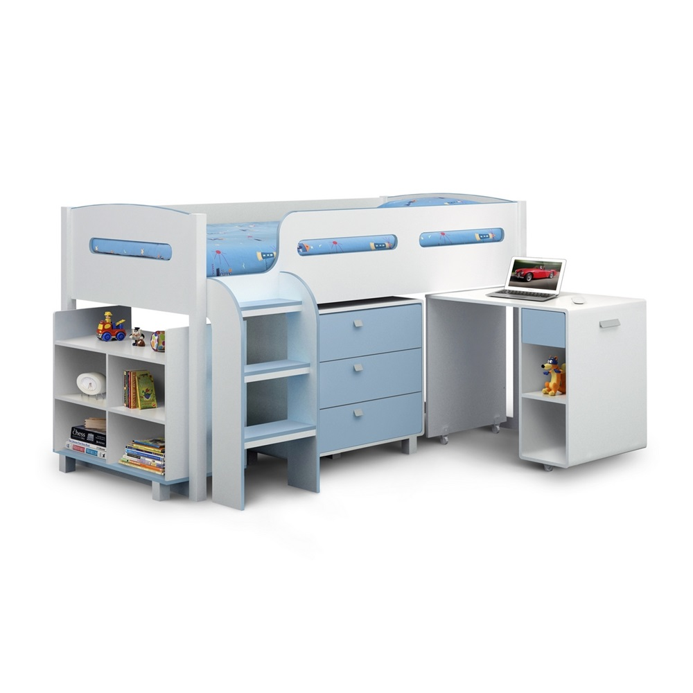 Kids Cabin Bed with Storage in White & Blue - Boys Beds ...