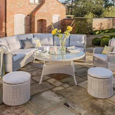 KING OUTDOOR RATTAN CORNER SET in Grey
