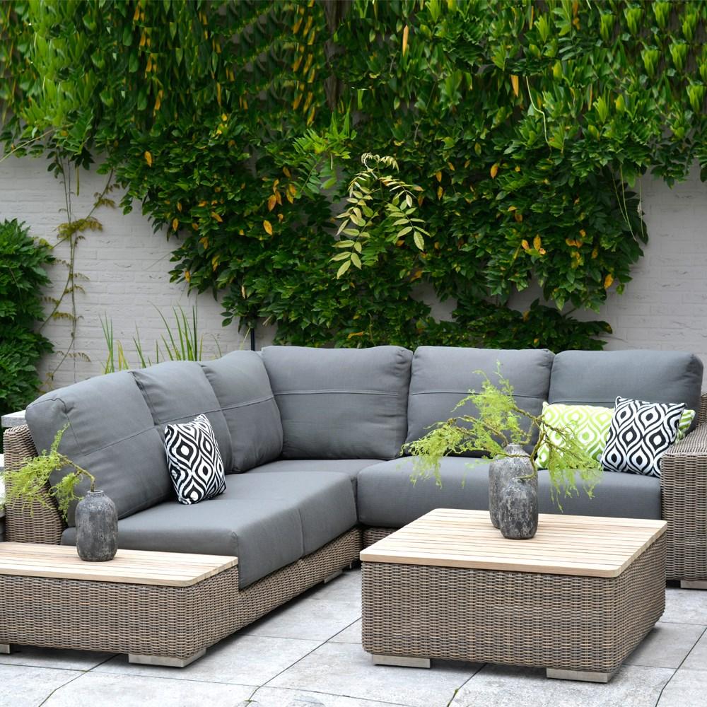 Clarence Modular Rattan & Teak Corner Garden Sofa with Teak Table