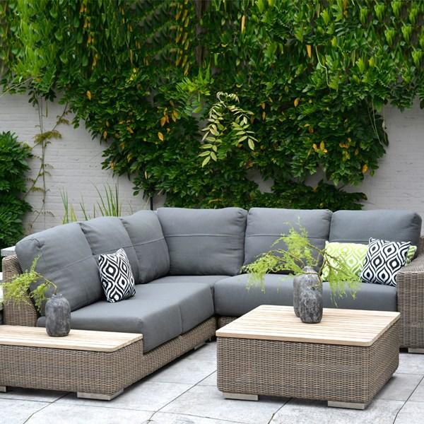 Kingston Modular Rattan and Teak Corner Sofa by 4 Seasons