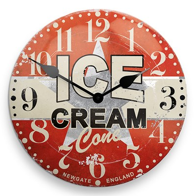 Kitchen Red Cream Vintage Clocks Ice Cream ...