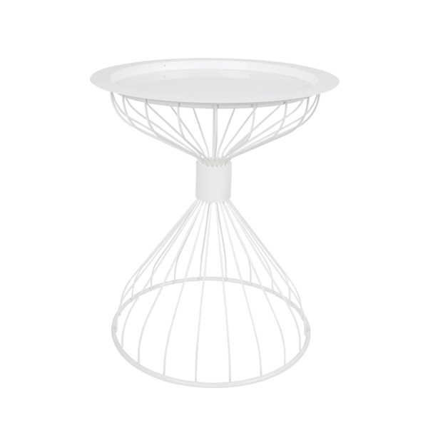 Modern White Side Table with tray