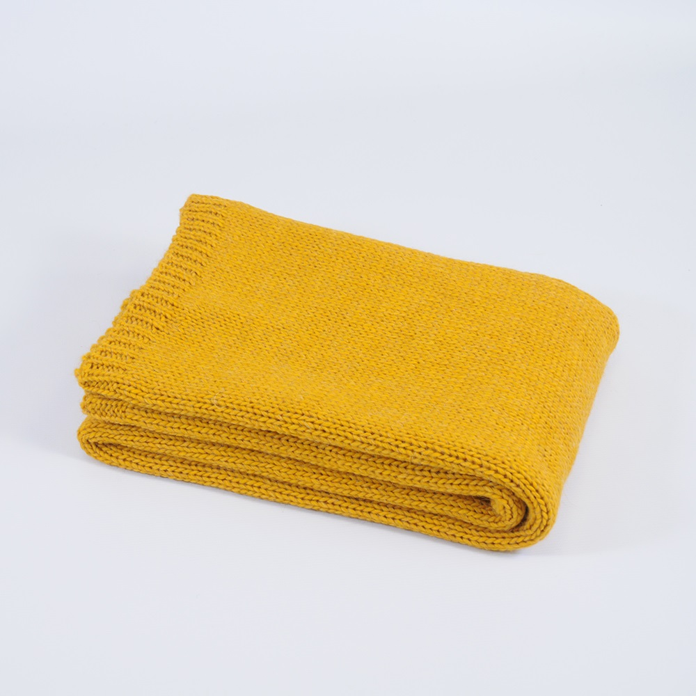 Knitted Throw In Mustard