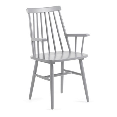 Pair of Kristie Wooden Spindle Back Armchairs in Light Grey