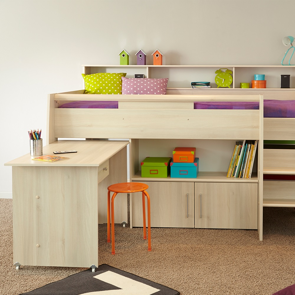 Parisot Kurt Cabin Bed With Desk Storage Cabin Beds