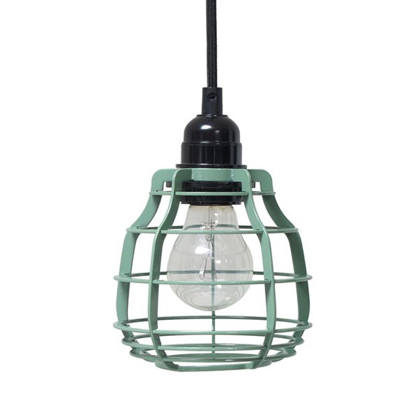 Industrial Metal Pendant Light Shade in Green