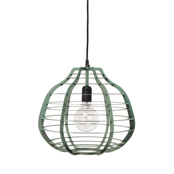 Large Industrial Metal Ceiling Light Shade in Green