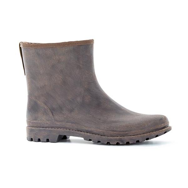 Ladies Chester Ankle Waterproof Wellies in Leather-look