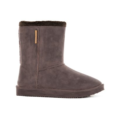 WATERPROOF SHEEPSKIN STYLE LADIES SNUG-BOOT WELLIES in BROWN