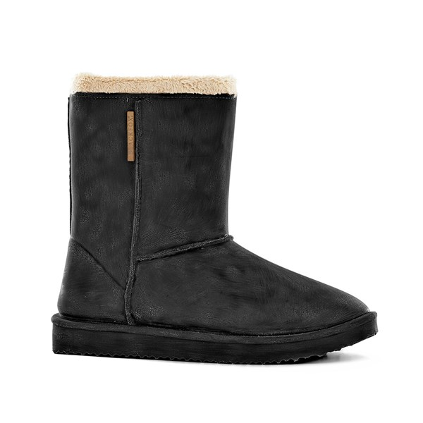 Waterproof Sheepskin Style Ladies Snug Boot Wellies in Black