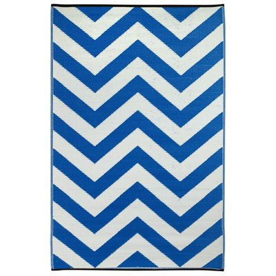 FAB HAB LAGUNA OUTDOOR RUG in Blue & White Chevron
