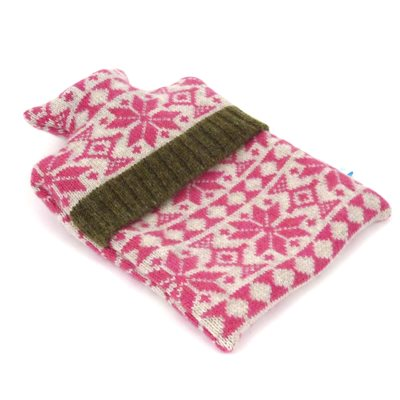 KNITTED LAMBSWOOL HOT WATER BOTTLE COVER Pink Snowflake