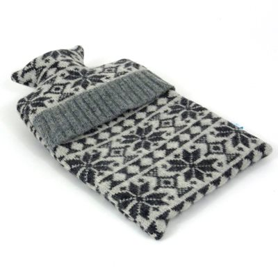 KNITTED LAMBSWOOL HOT WATER BOTTLE COVER Charcoal Snowflake