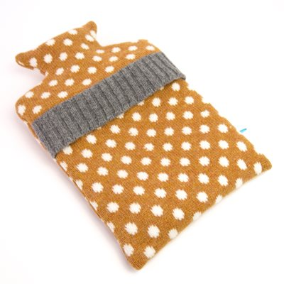 KNITTED LAMBSWOOL HOT WATER BOTTLE COVER Gold Dot