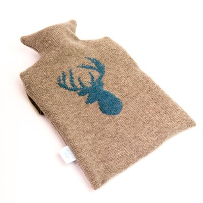 KNITTED LAMBSWOOL HOT WATER BOTTLE COVER Blue Stag