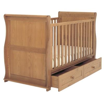 EAST COAST BABY & TODDLER SLEIGH COT BED in Oak Langham Design