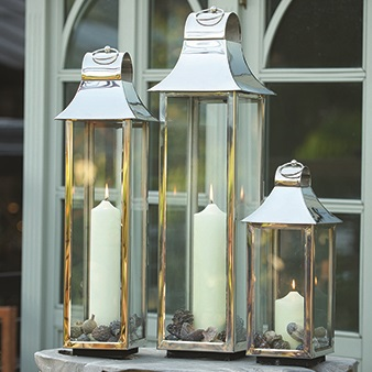 TONTO Lantern in Chic Stainless Steel with Nickel Plate