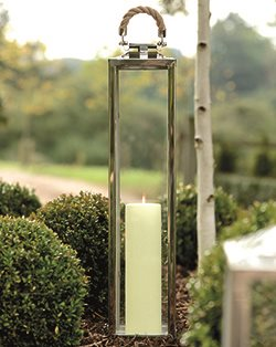 TALL LA ROCHELLE Nautical Lantern in Stainless Steel With Nickel  Finish