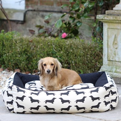 DOG BED in Dachshund Print