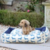 Large Dog Bed in Dachshund Print Blue