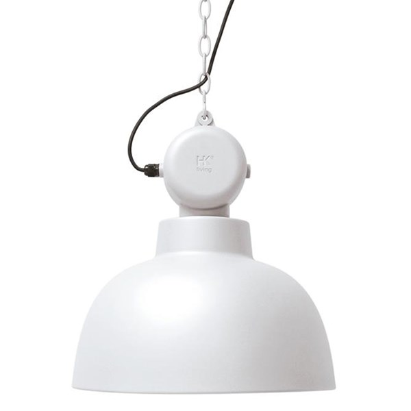 Industrial Factory Pendant Ceiling Light in White
