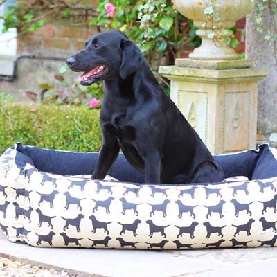 Dog Bed in Labrador Print
