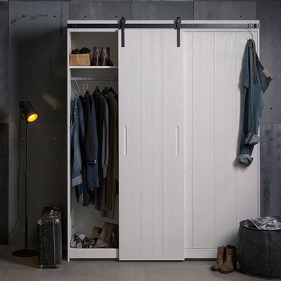 Luuk Pine Wardrobe with Sliding Doors in White by Woood