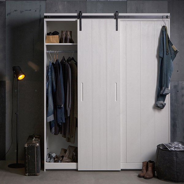 Luuk Pine Wardrobe with Sliding Door in White