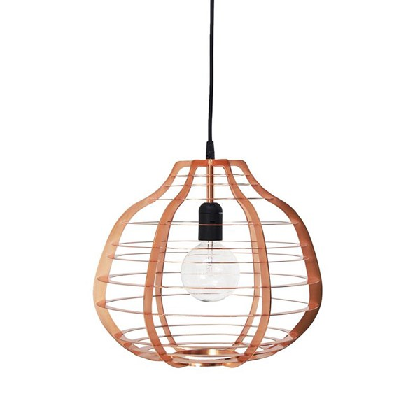 Large Industrial Metal Ceiling Light in Copper