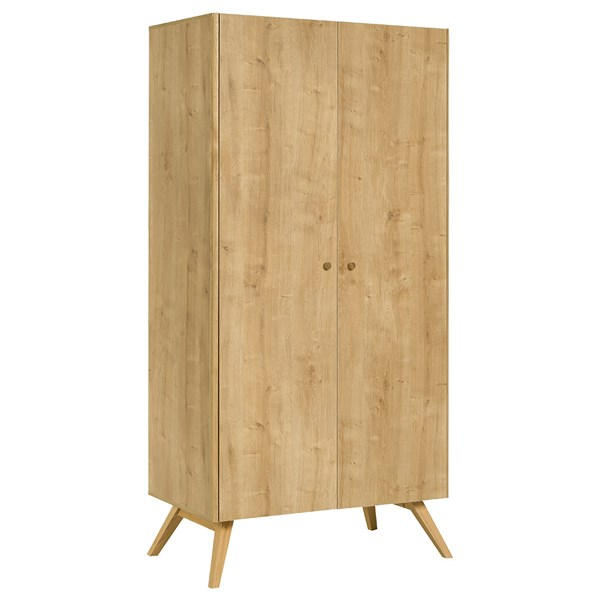 Nature 2 Door Wardrobe in Oak and White