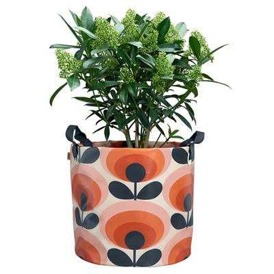 ORLA KIELY LARGE FABRIC PLANT BAG in 70s Oval Flower Orange Print