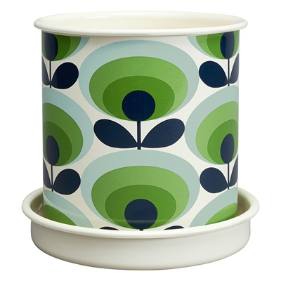 Orla Kiely Large Plant Pot in 70's Oval Flower Green Print