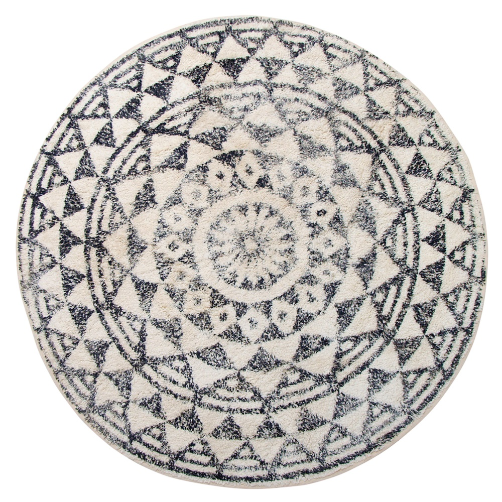 Round Cotton Bathroom Mat In Monochrome