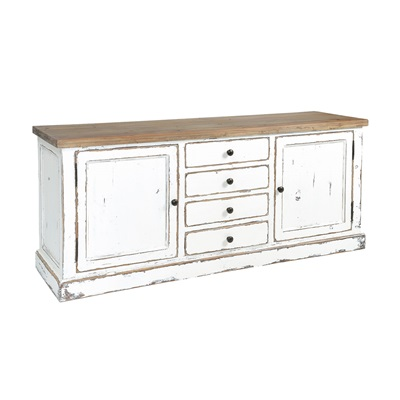 SIDEBOARD WITH CUPBOARDS & DRAWERS in Distressed Paint Finish